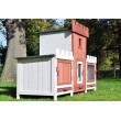 SALZBURG kültéri nagyméretű nyúlketrec/kisállatketrec két házikóval, 1540x500x960 mm