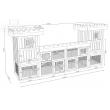 SOBESLAV kültéri nagyméretű nyúlketrec/kisállatketrec két házikóval, 2600x540x1280 mm